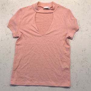 Pink V neck Wilfred shirt from Aritzia